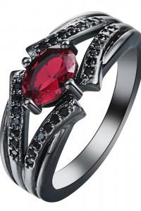 Nowy czarny pierścionek czerwona cyrkonia oczko kamień czarne cyrkonie retro goth dark