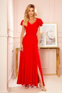 Długa sukienka rękaw falbanki czerwona M L gumka w pasie...