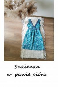 Śliczna sukienka w pawie pióra z paskiem XXS XS...