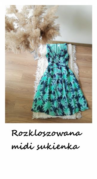 Suknie i sukienki Letnia rozkloszowana sukienka midi wesele impreza na co dzień