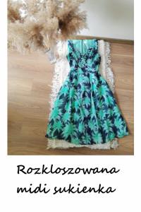 Letnia rozkloszowana sukienka midi wesele impreza na co dzień...