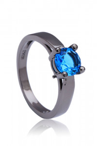 Nowy czarny pierścionek prosty niebieska pojedyncza cyrkonia retro goth dark