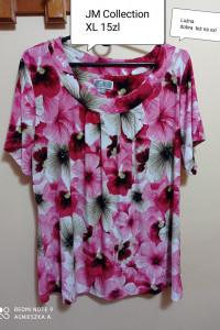 Bluzka xl XXL elegancka wizytowa kwiaty luźna