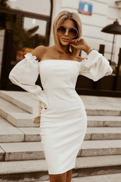 Suknie i sukienki Sukienka efektowne rękawy mini kolory S M L 2224