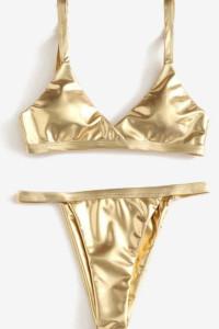 Złote asymetryczne bikini S...