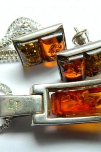 Bursztyn i srebro wisiorek i kolczyki zestaw biżuterii...