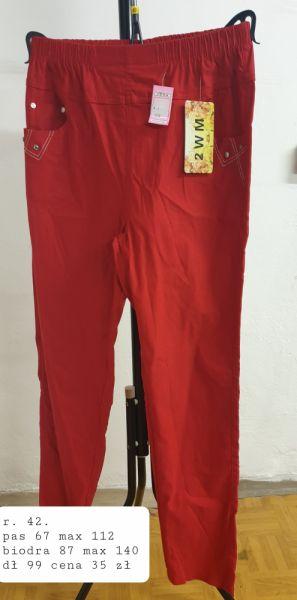 Spodnie czerwone rozciągliwe spodnie rozmiar 42