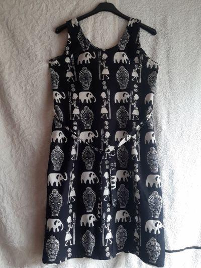 Suknie i sukienki Granatowa bawełniana letnia sukienka bez rękawów