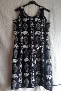 Granatowa bawełniana letnia sukienka bez rękawów...