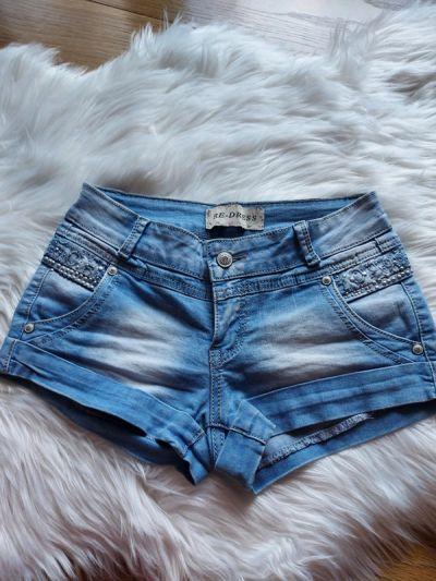 Spodenki Jeansowe spodenki szorty perełki XS 34