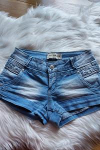 Jeansowe spodenki szorty perełki XS 34