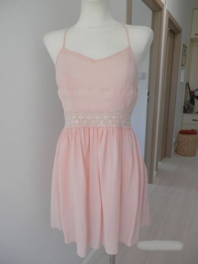 Suknie i sukienki Sukienka Rozkloszowana Pudrowy Róż Ażurowy Haft New Look Nowa M