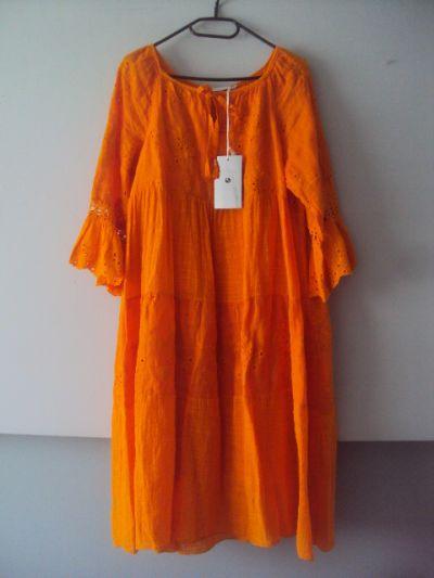 Suknie i sukienki nowa lnina sukienka z falban