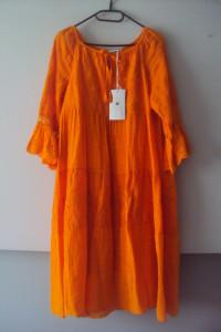 nowa lnina sukienka z falban...