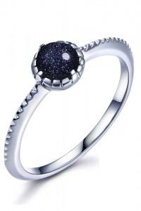 Nowy srebrny pierścionek granatowe oczko kamień srebro 925...