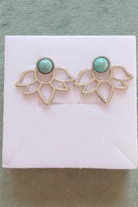 Nowe kolczyki podwójne srebrny kolor turkusowe oczko turkus lotus orient