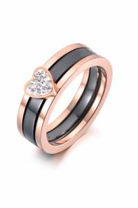 Nowy pierścionek komplet zestaw dwa pierścionki obrączka różowe...