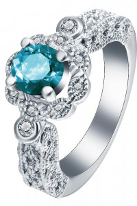 Nowy pierścionek posrebrzany srebrny kolor niebieska cyrkonia k...