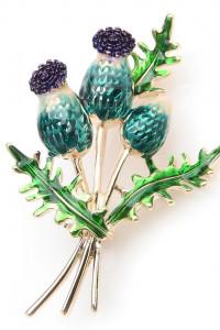 Nowa broszka łopian kwiat owoc łopianu retro vintage styl pin u...