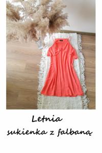 Malinowa elegancka sukienka M L letnia z falbaną...