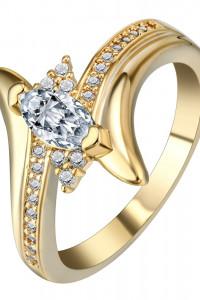 Nowy pierścionek złoty kolor duża cyrkonia kamyczki