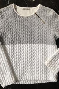 ZARA szaro biała bluza sweter z zamkami M 38 stan BDB...