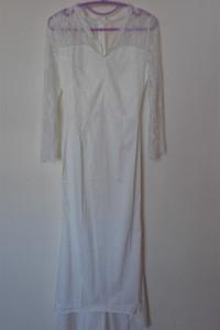 Vintage retro biala suknia ślubna z koronką 32 34...