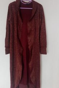 Bordowo złoty długi sweter kardigan 36 38