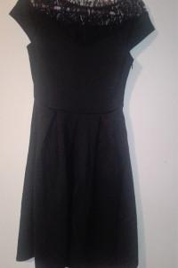 Czarna elegancka rozkloszowana sukienka midi 36 38...