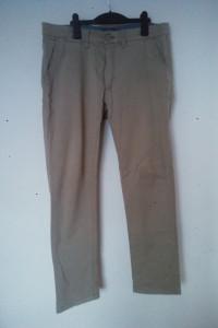 Beżowe męskie materiałowe spodnie W34 L32