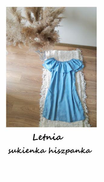 Suknie i sukienki Błękitna sukienka hiszpanka XS S M niebieska z falbaną
