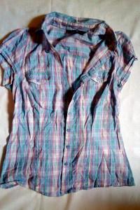 Koszulowa bawełniana bluzka w kratkę jasna F&F Rozmiar S...