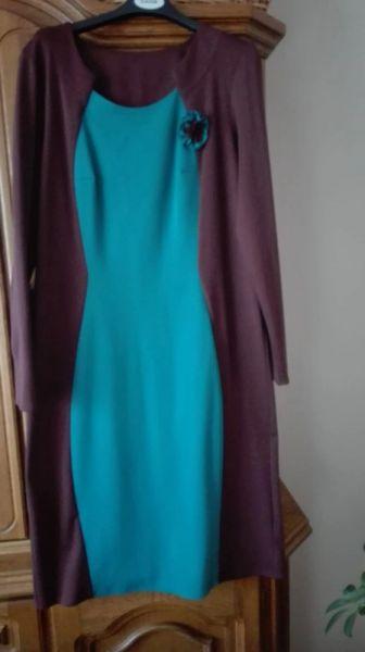 Suknie i sukienki Sukienka rozmiar 42 niebiesko brązowa