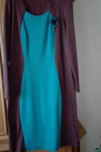 Sukienka rozmiar 42 niebiesko brązowa