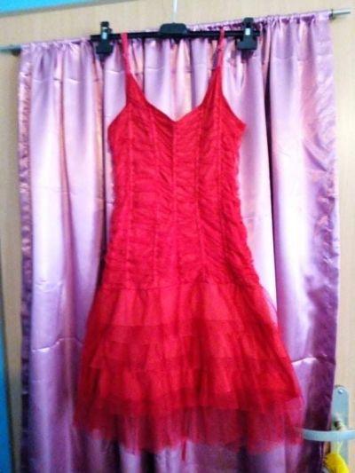 Suknie i sukienki Koronkowa czerwona sukienka wiązana z tyłu regulowane ramiączka