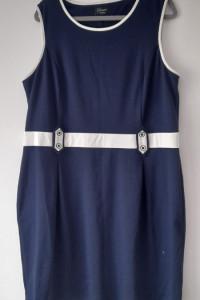 Granatowa dzinaniowa sukienka ołówkowa midi 48...
