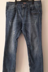 Niebieskie męskie jeansy z przetarciami 48 50