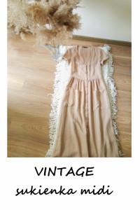 Vintage sukienka midi na guziki beżowa XS sinsay letnia...