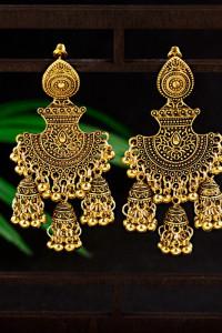 Nowe indyjskie kolczyki jhumka złoty kolor handmade boho hippie etno folk