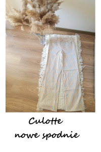 Nowe szerokie spodnie kuloty bawełniane w paski culotte bawełna...