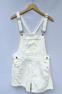 Ogrodniczki Białe Przetarcia H&M L 40 Dzinsowe Jeans Dziury...