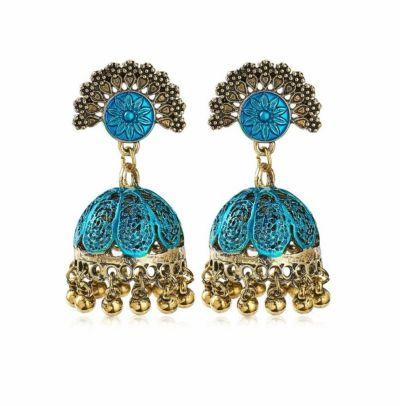 Kolczyki Nowe indyjskie kolczyki jhumka złoty niebieski kolor handmade boho hippie etno