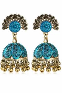 Nowe indyjskie kolczyki jhumka złoty niebieski kolor handmade b...