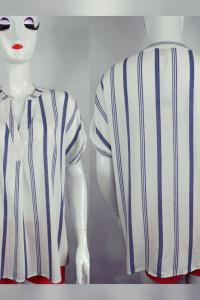 Koszula w niebieskie pasy o naturalnym składzie...