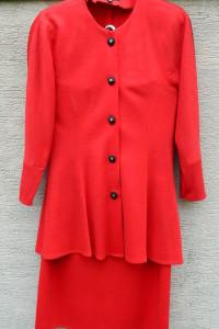 Czerwona garsonka kostium elegancka szykowna...
