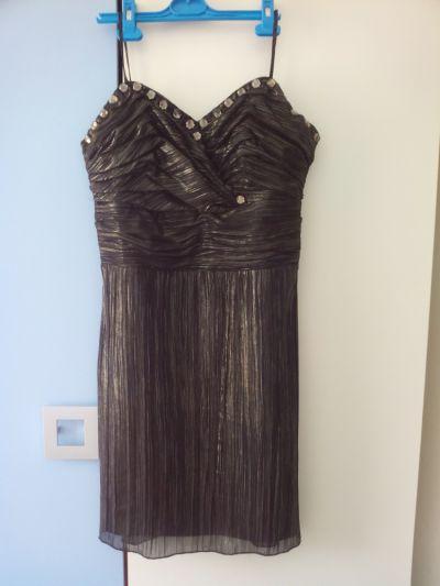 Suknie i sukienki Szyk czarno złota elegancka szyfonowa z podszewką sukienka r 40 42