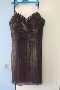 Szyk czarno złota elegancka szyfonowa z podszewką sukienka r 40...