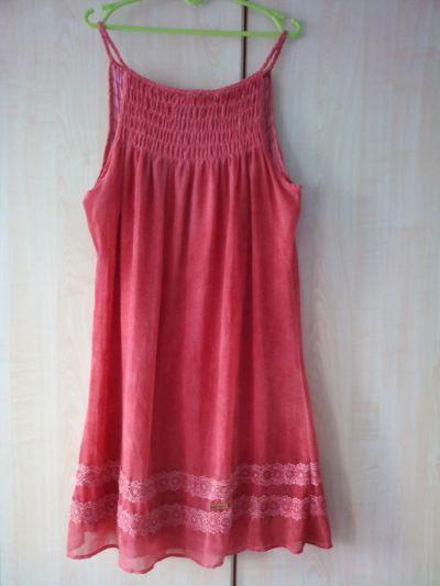 Suknie i sukienki Khujo co koralowa trapezowa szyfonowa sukienka na ramiączkach z koronką oversize r 42