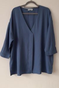 Niebieska elegancka luźna cienka bluzka 48...