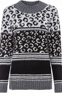 Ciepły sweter w odcieniach szarości i czerni...
